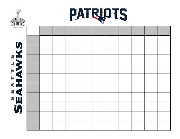 Super Bowl Betting Board 10x10 Grid