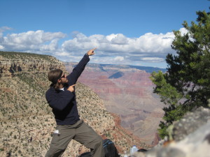 Shawn pointing at Grand Canyon