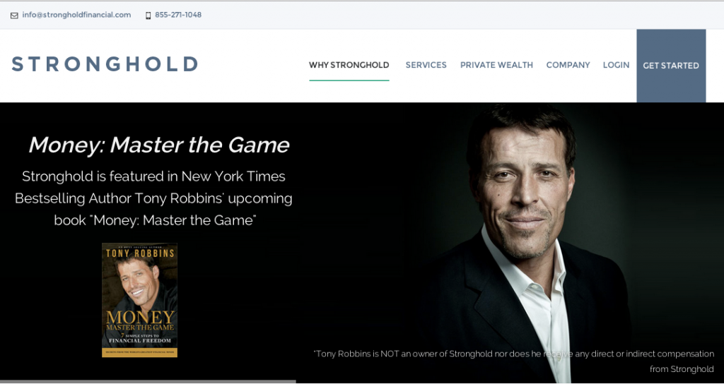 Image of the Stronghold Financial homepage with Tony Robbins face.