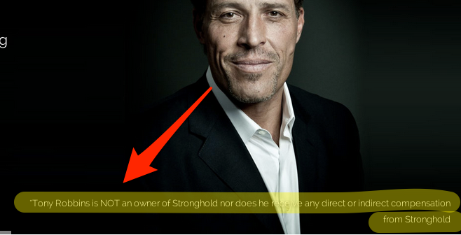 Image showing that Tony Robbins does not get money from Stronghold.