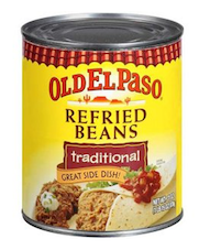 image of a can of Old El Paso refried beans.