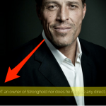 Image from the front of the Stronghold financial website showing Tony Robbins.