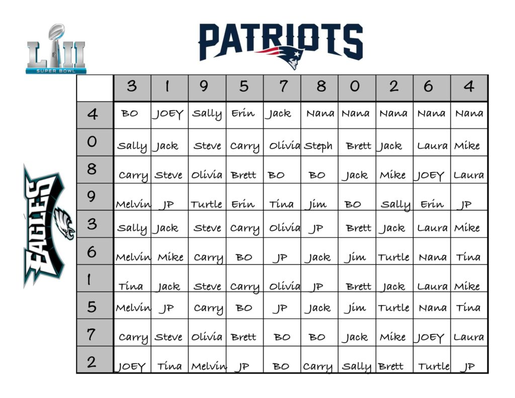 Example fun super bowl betting board with squares and names.